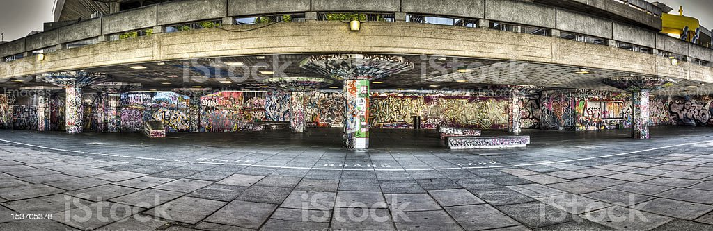Skateboard Park with graffities at London\'s riveside. HDR image