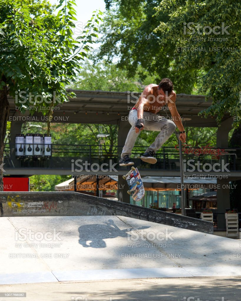 Skateboarder at Park in Budapest stock photo