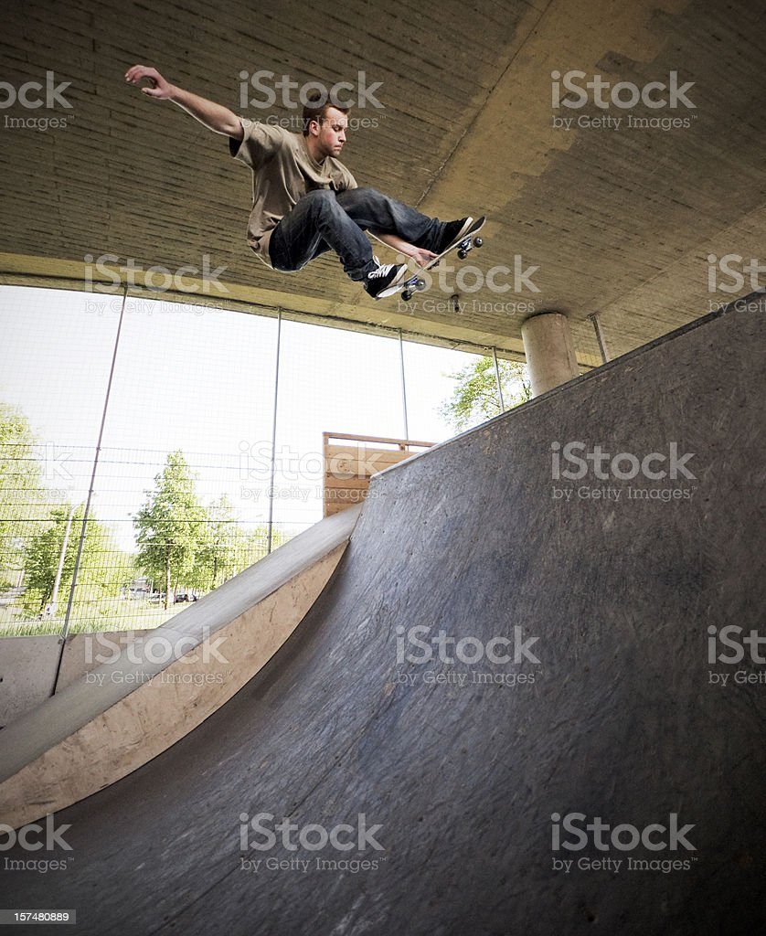 Skateboarder at Skate Park stock photo