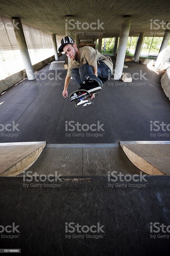 Skateboarder at Skate Park stock photo