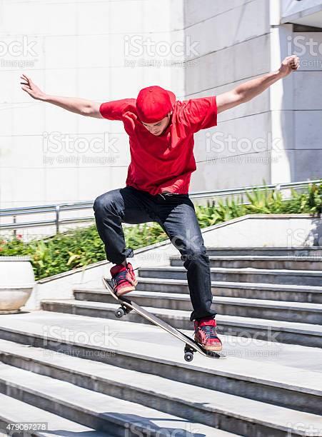 Photo of Skateboarder at skate park