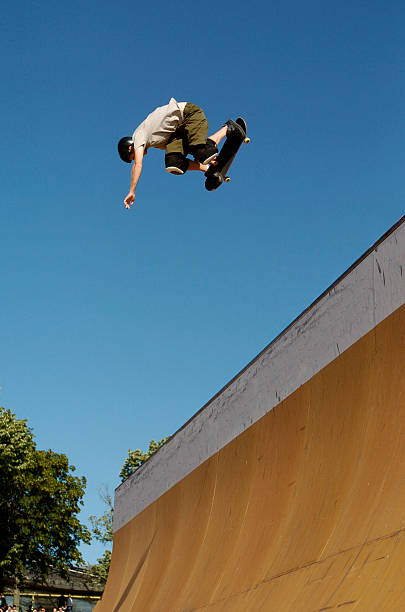 skateboarder backside air - skatepark bildbanksfoton och bilder