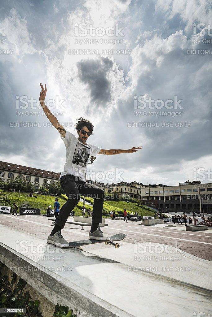 Skateboarder in Turin royalty-free stock photo