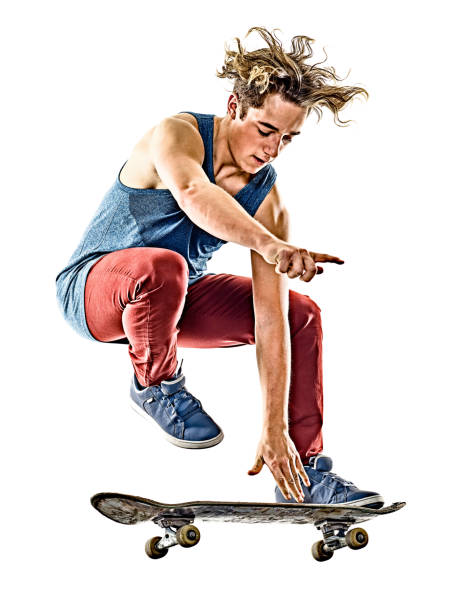skateboarder young teenager man isolated - skateboardfahren stock-fotos und bilder