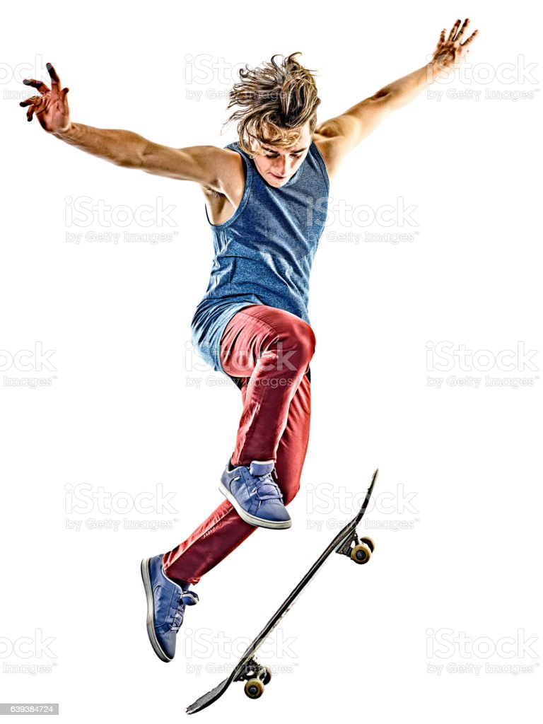 skateboarder young teenager man isolated stock photo