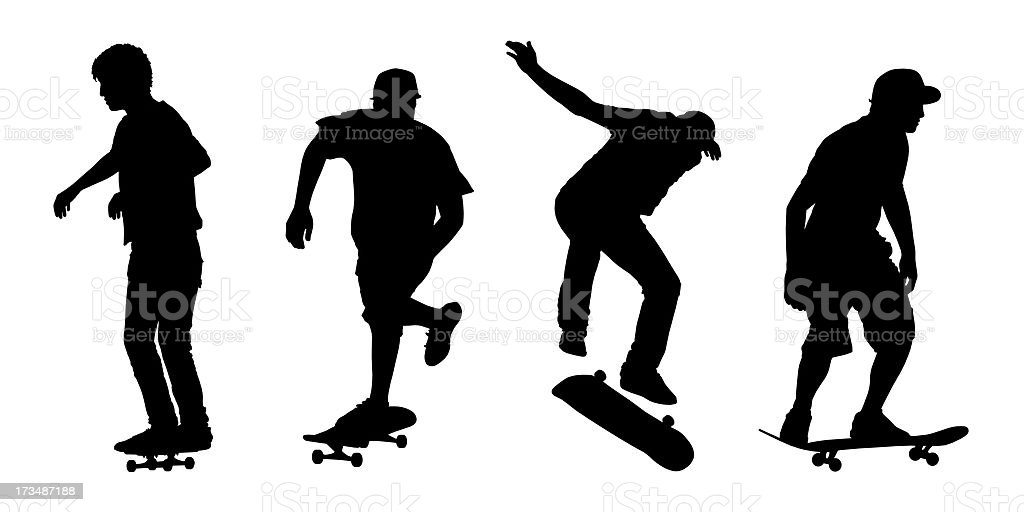 skateboarders silhouettes set 1 royalty-free stock photo