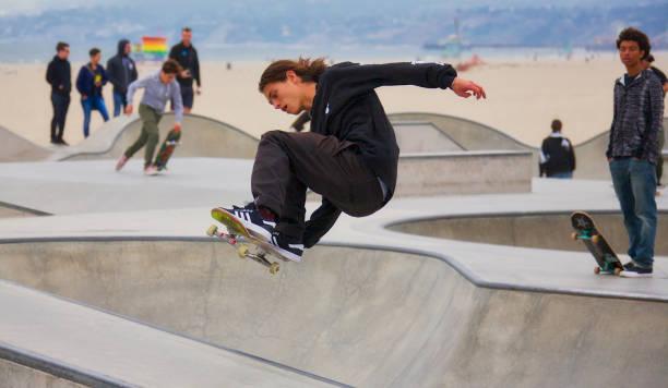 Skateboarding at Venice Beach stock photo