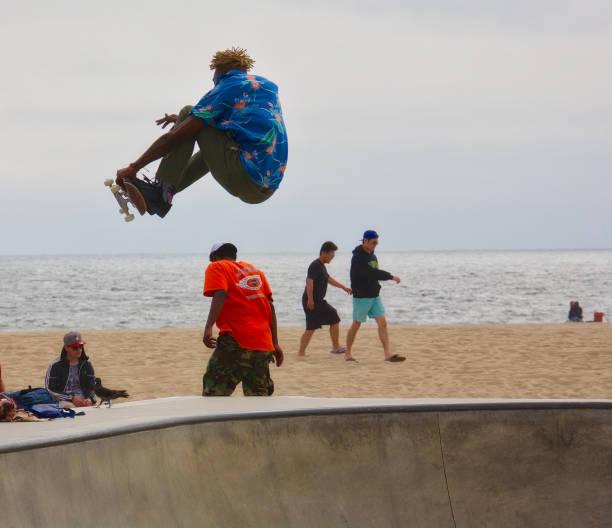 Skateboarding at Venice Skate Park stock photo