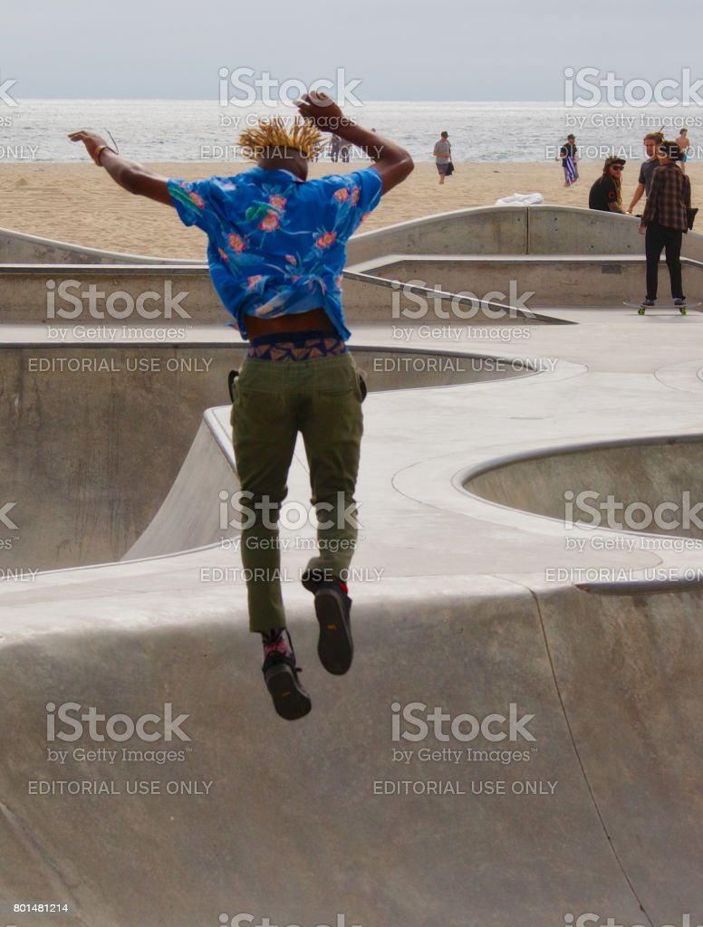 Skateboarding at Venice Skate Park stock photo