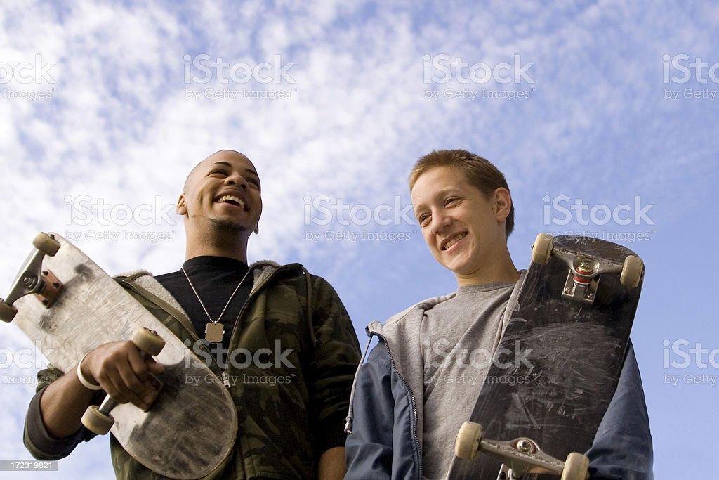Skateboarding Friends royalty-free stock photo