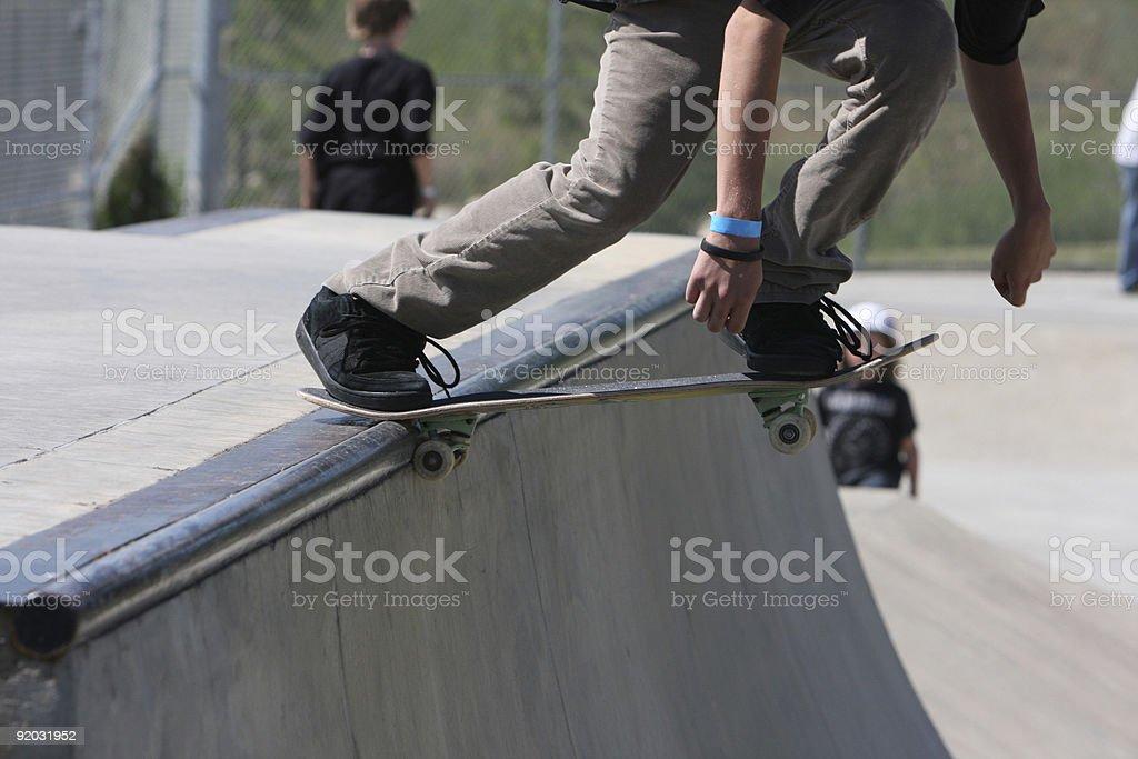 Skateboarding half pipe start stock photo