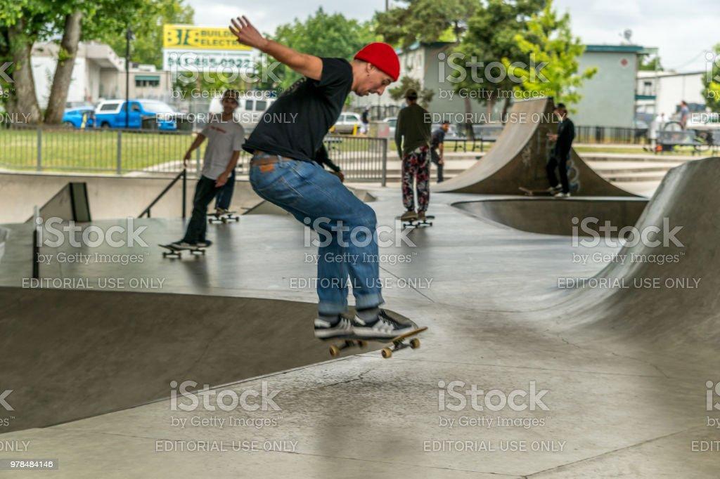 Skateboarding in an Urban Skatepark stock photo
