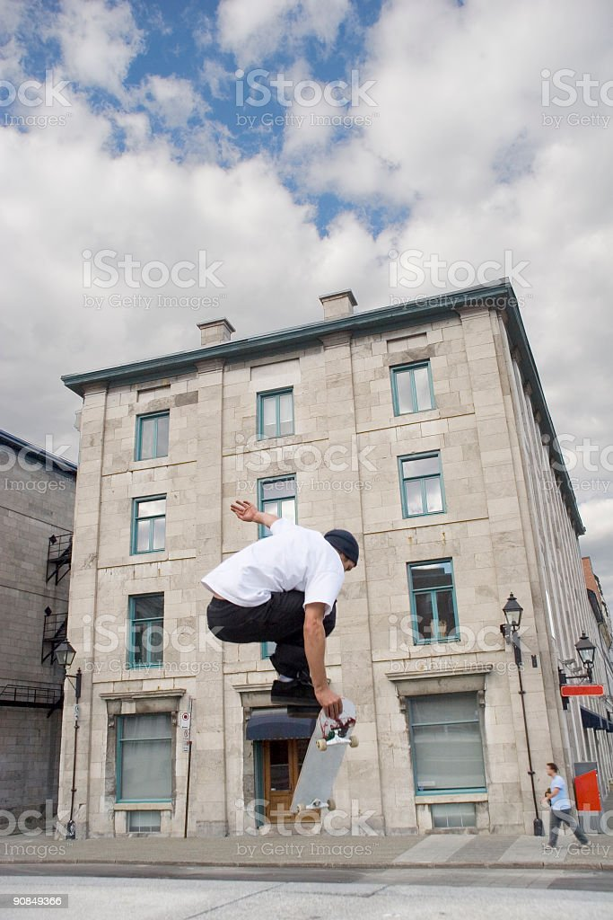 Skateboarding in Old Montreal royalty-free stock photo