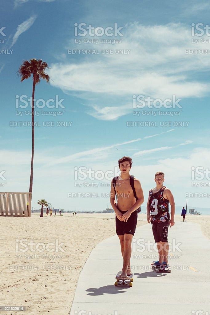 Skateboarding in Santa Monica stock photo