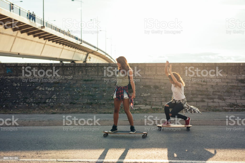 Skateboarding is awesome! stock photo