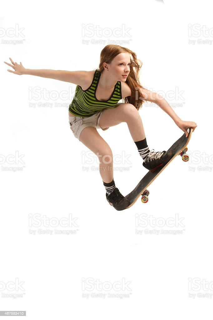Skateboarding, Isolated on White stock photo