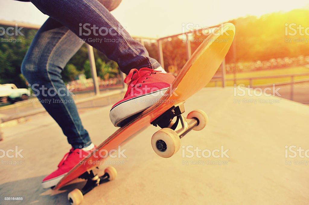skateboarding legs stock photo