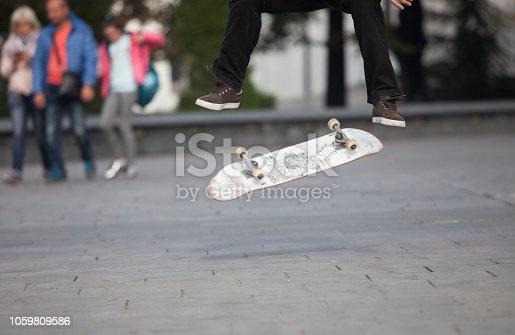 Belgrade, Serbia, October 20th 2018: Skateboarding tricks