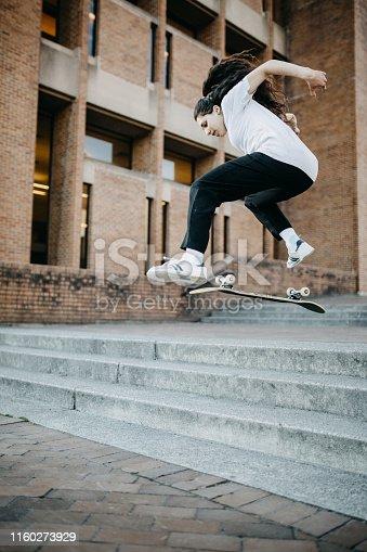 A talented Hispanic female skateboarder skates various urban features in the Seattle, Washington area.