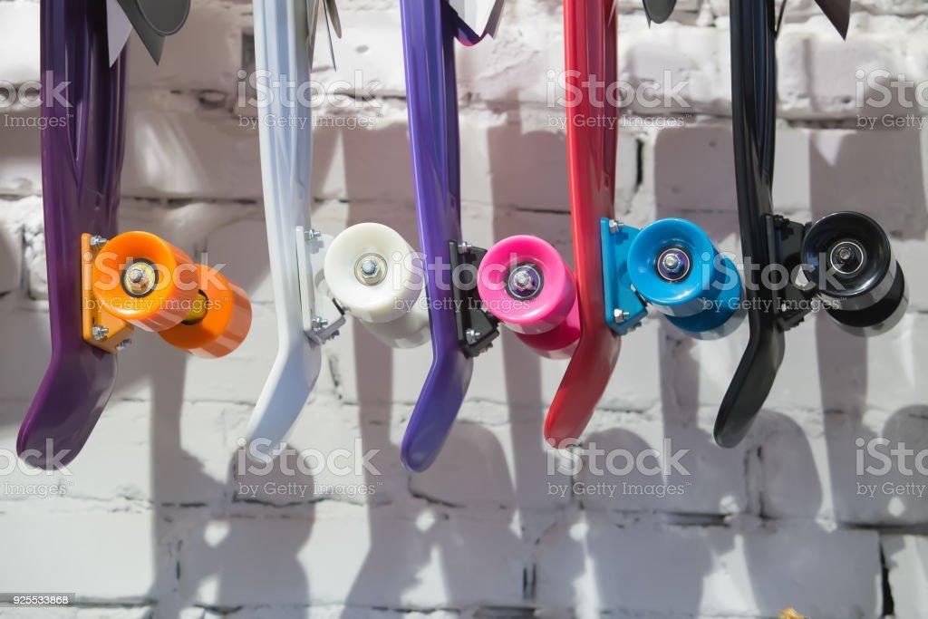 Skateboards mit farbigen Räder – Foto