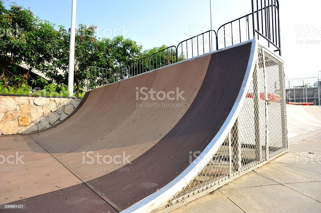 skatepark half pipe stock photo