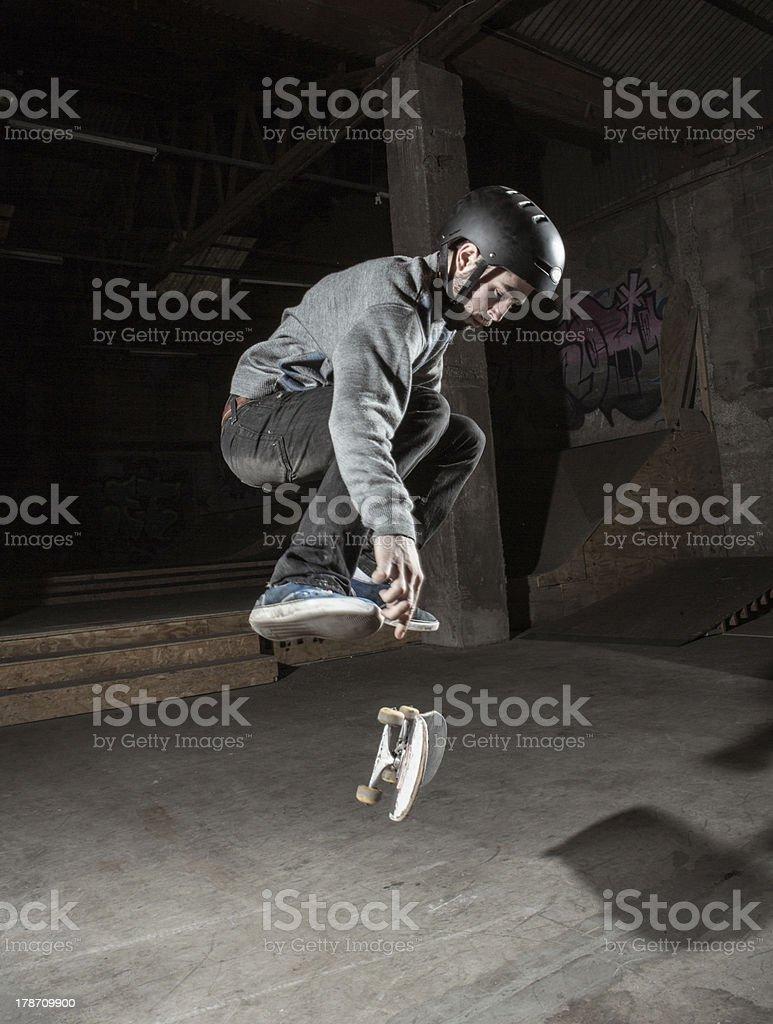 Skater doing 360 trick royalty-free stock photo