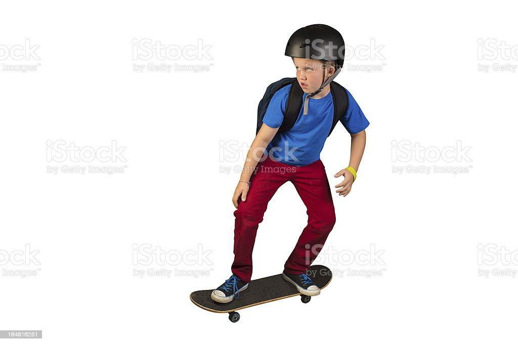 Skater Kid Traveling to School stock photo