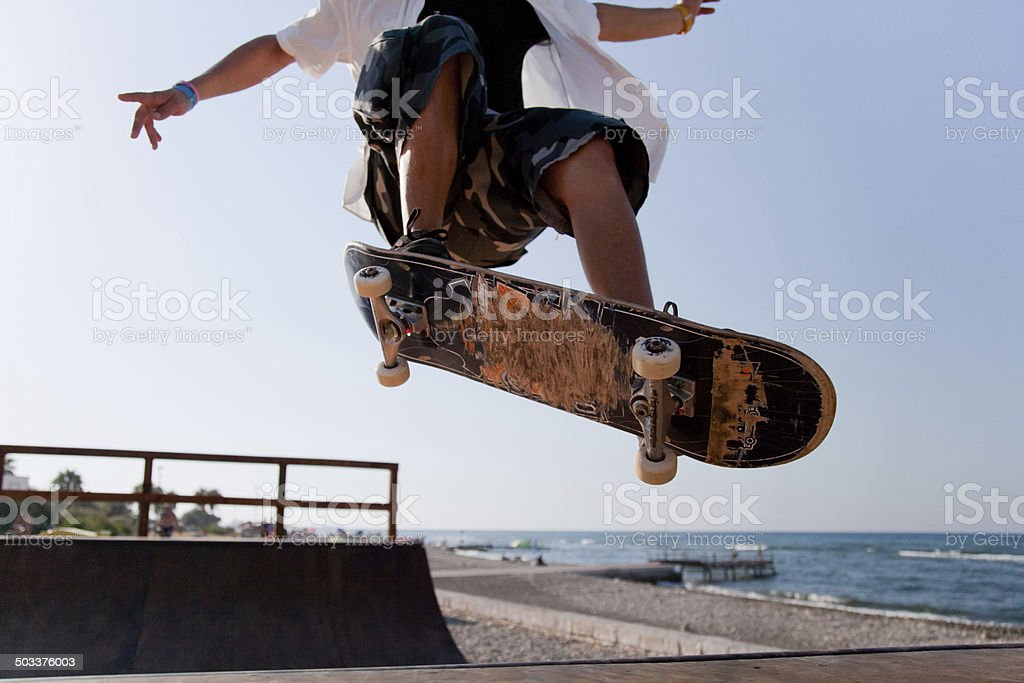 Skater on ramp 07 stock photo