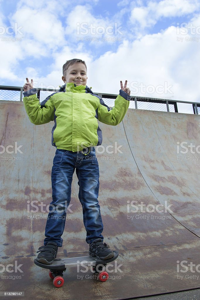 skater training on the table stock photo