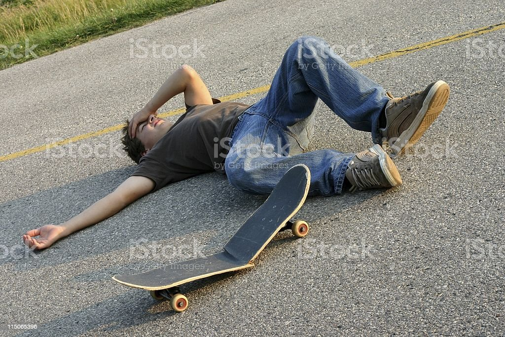Skater Wipe-Out royalty-free stock photo