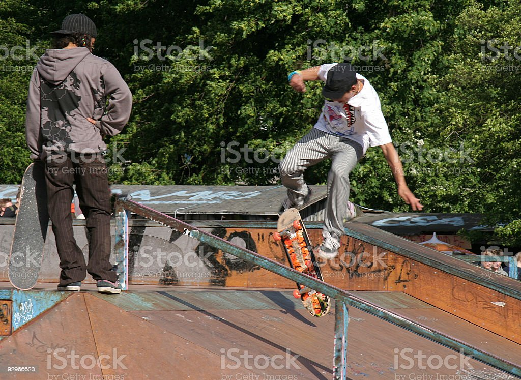 Skaterboys on a ramp in Copenhagen royalty-free stock photo
