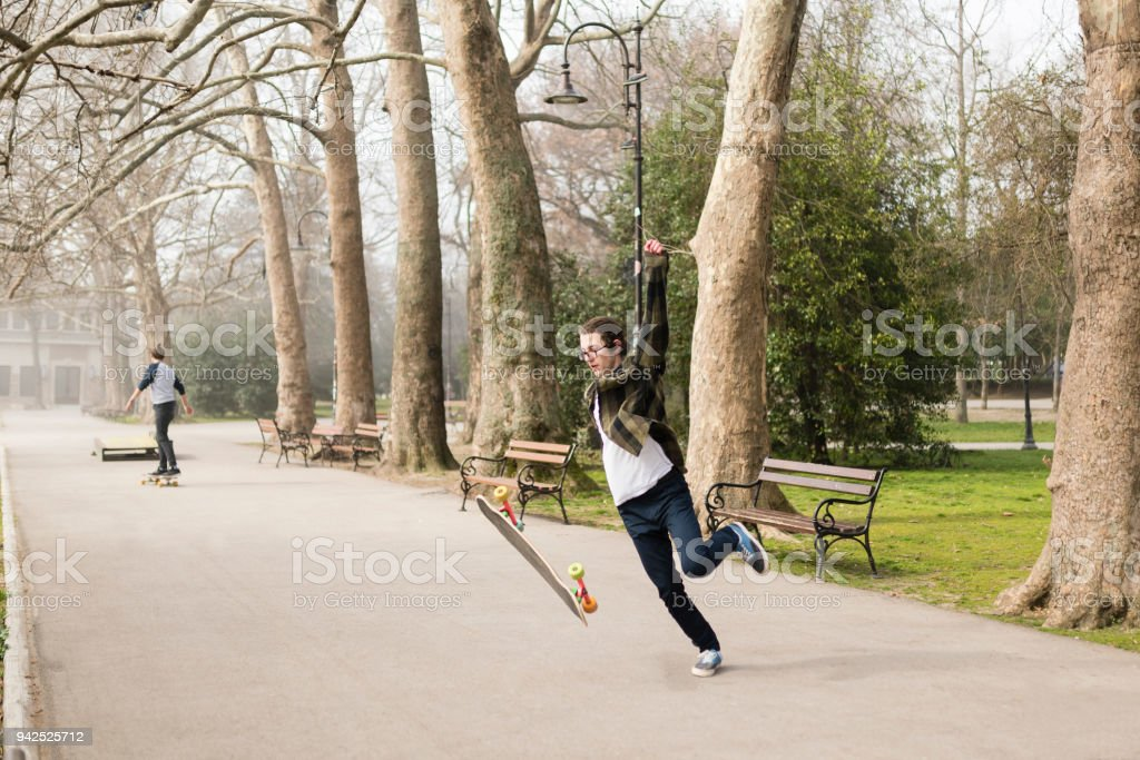 Skaters having fun after school stock photo