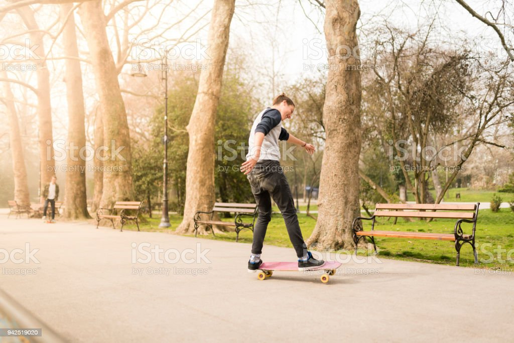 Skaters having quality time after school stock photo