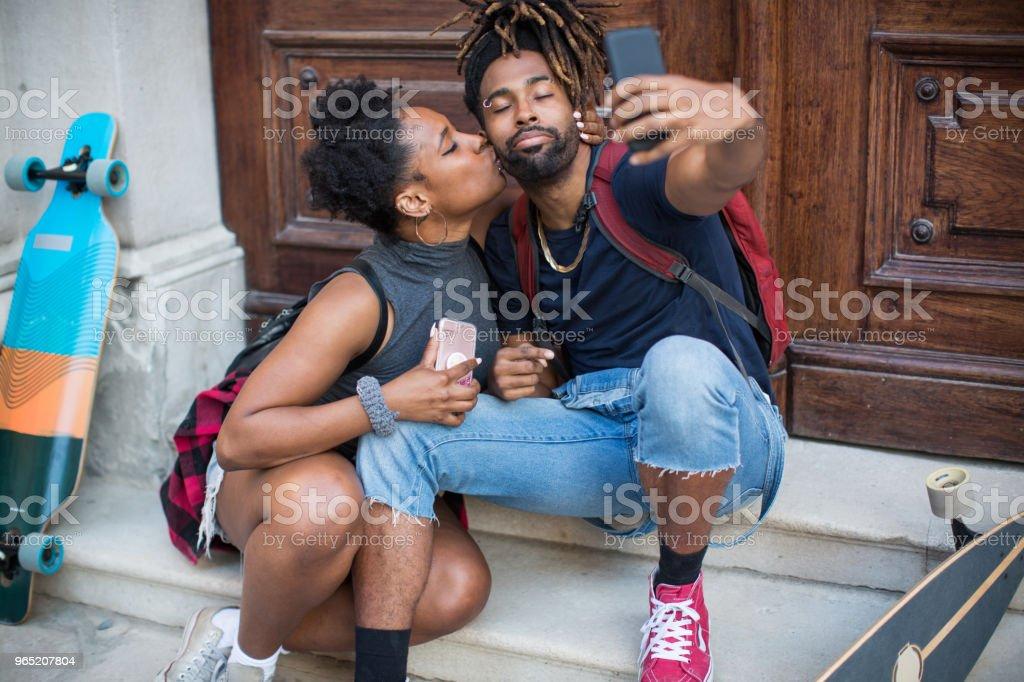 Skaters in love royalty-free stock photo
