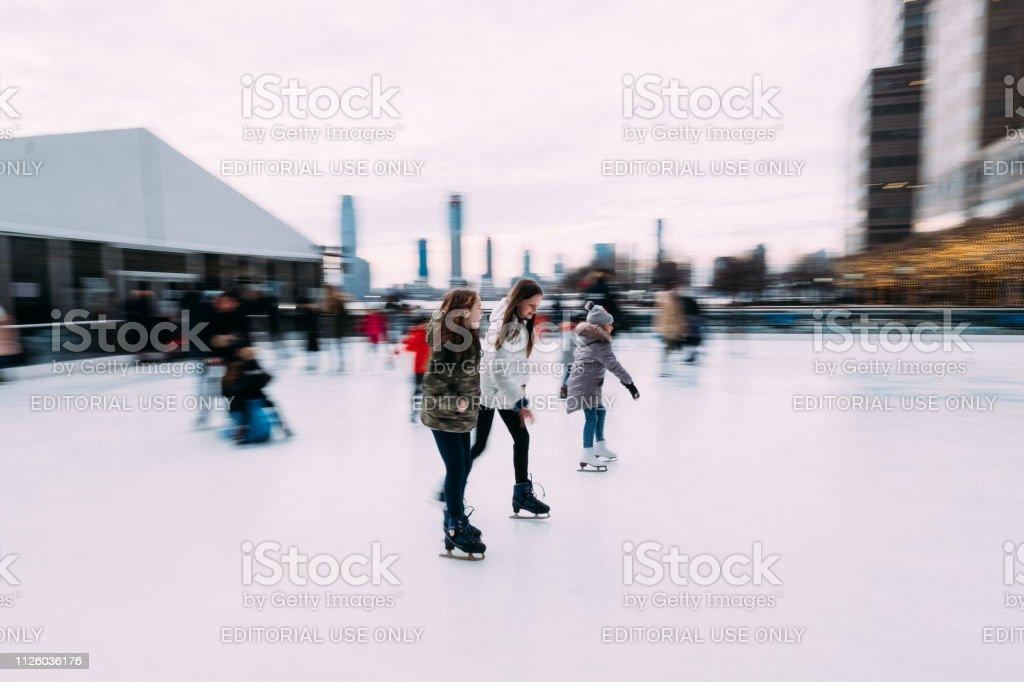 Manhattan, New York City, New York, USA - January 27, 2019: Skaters...