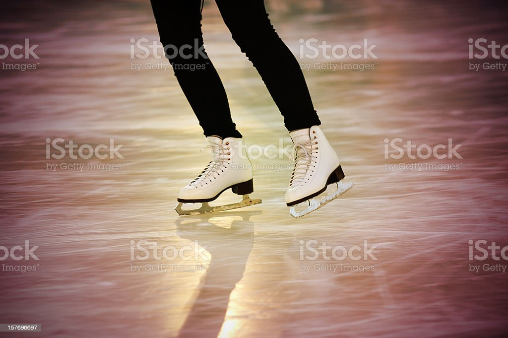 Skating girl, low light royalty-free stock photo