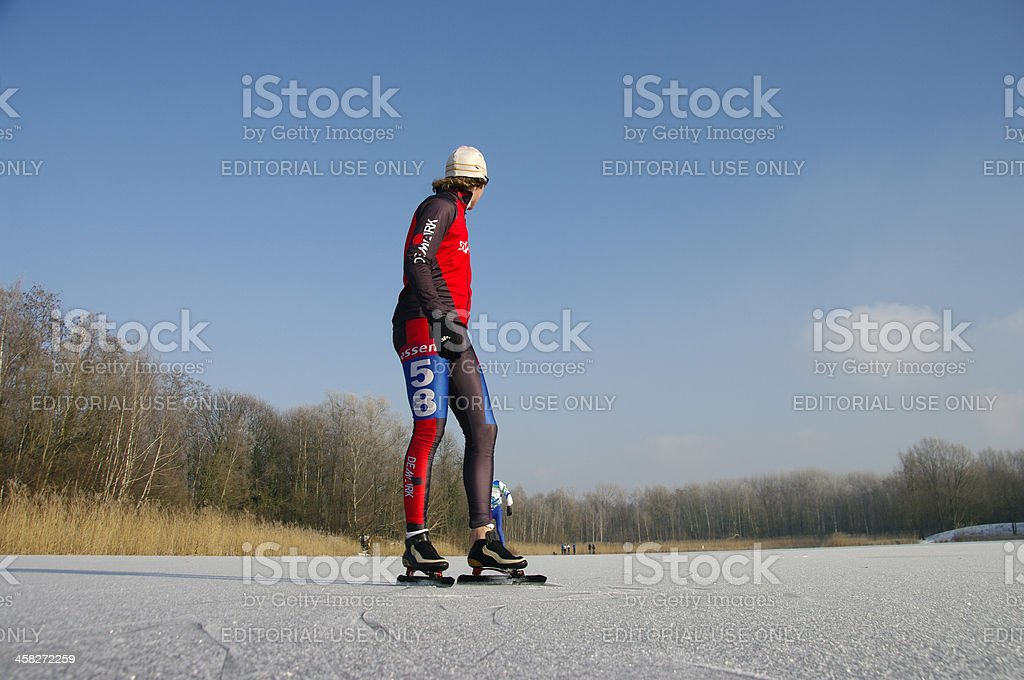 Skating race in Holland royalty-free stock photo