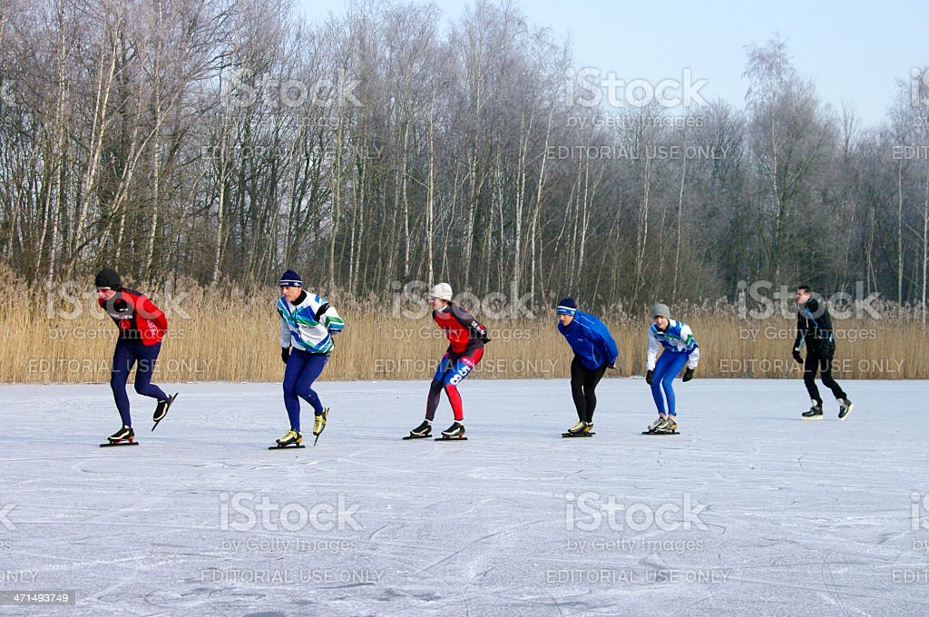 Skating race on nature ice royalty-free stock photo