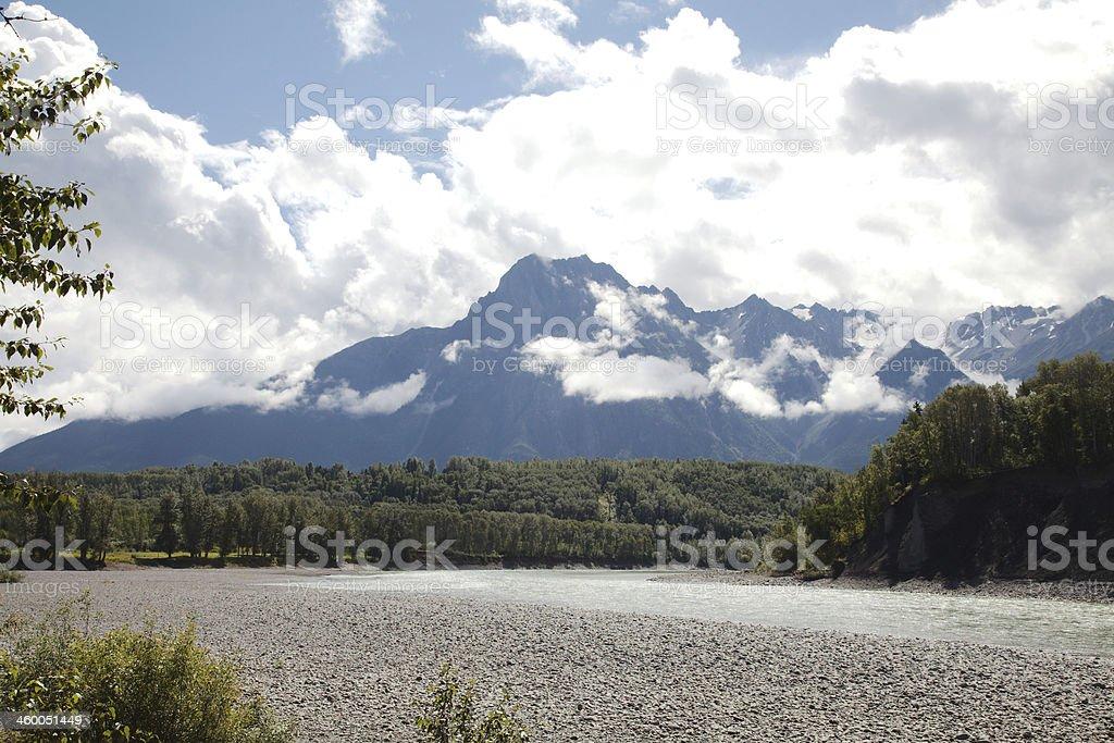 Skeena and Bulkley Rivers at Hazelton, B.C., Canada. stock photo