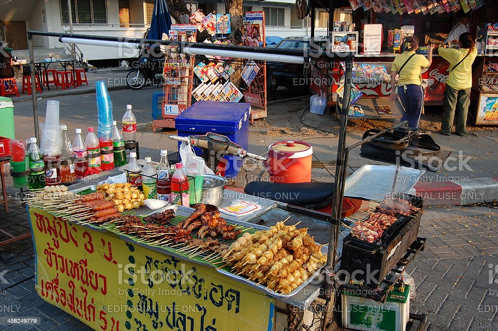 Skeewers Food stall, Chiang Mai - Thailand royalty-free stock photo