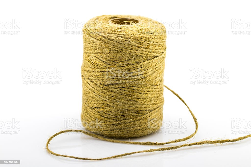 Skein of jute twine on the white stock photo