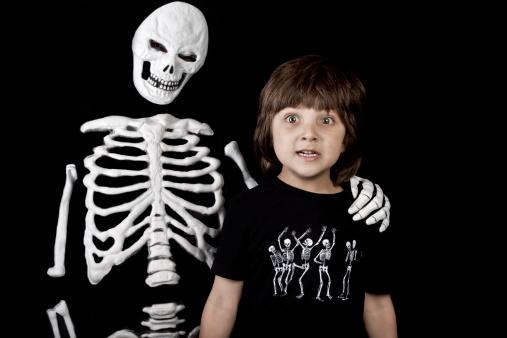Skeleton and boy