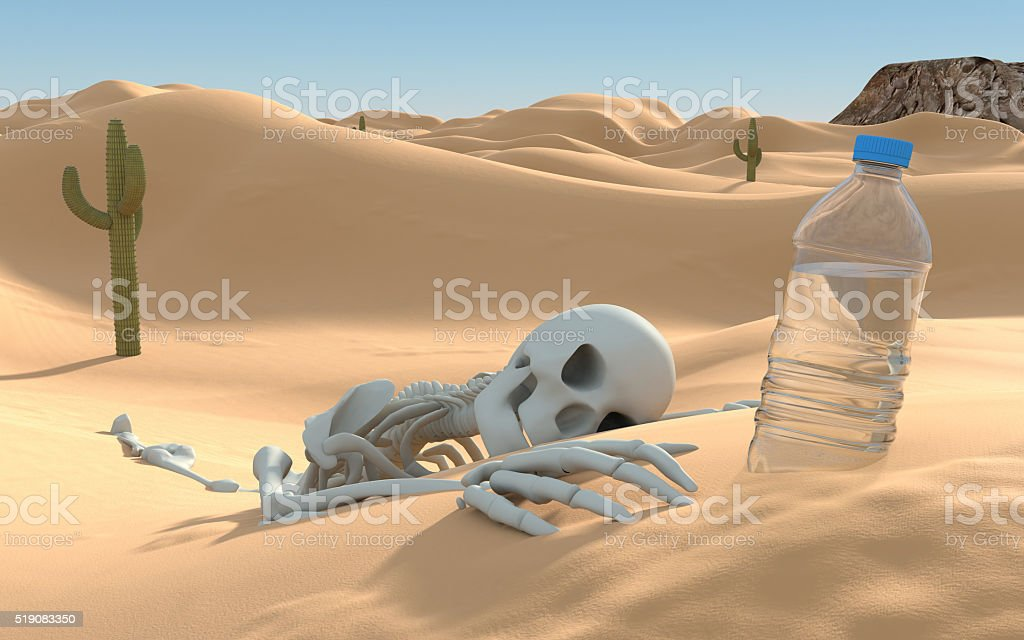 Skeleton And Water Bottle In Desert Stock Photo - Download Image Now - iStock