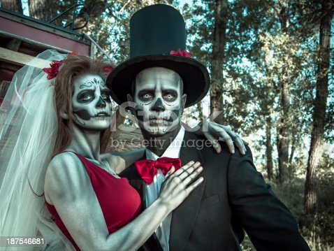 Day of the dead skeleton bride and groom
