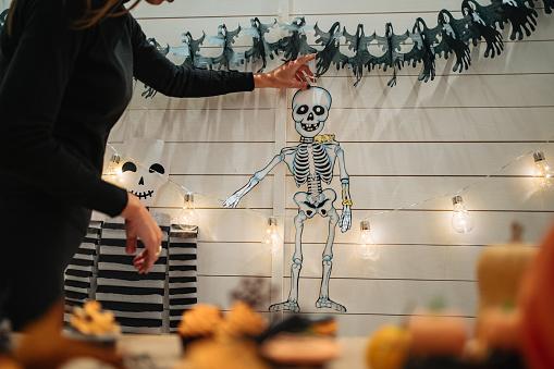 Skeleton decoration on Halloween night