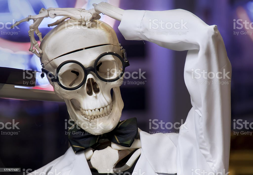 Skeleton disguised as a doctor. stock photo