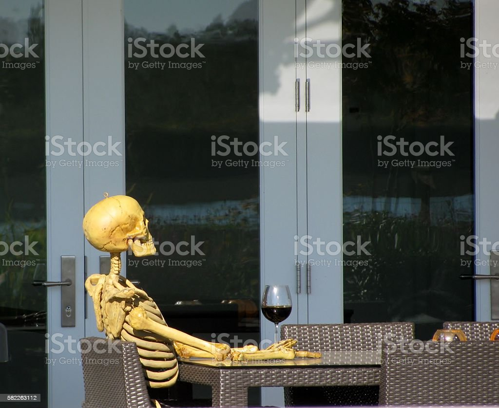 Skeleton drinking wine - Photo