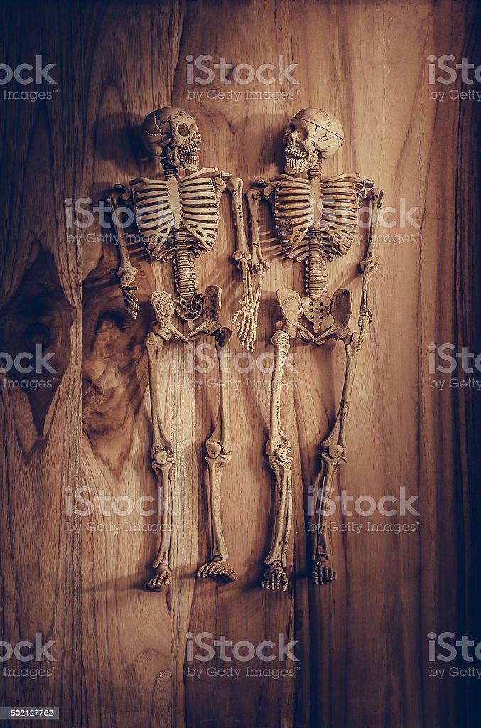Skeleton holding hand for eternal love. Selective focus on hand stock photo