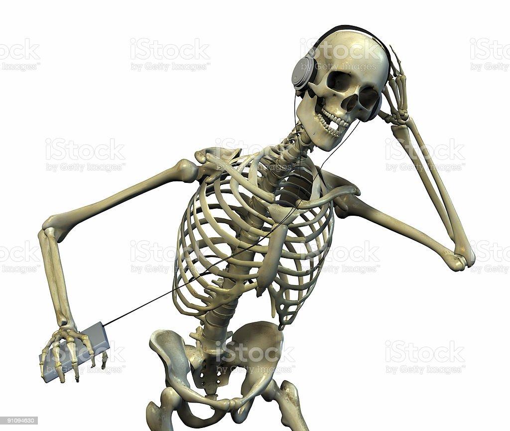 Skeleton Listening to Music royalty-free stock photo
