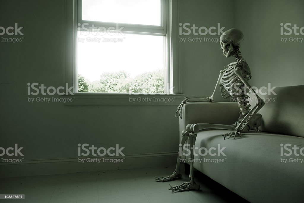 skeleton looking out a window stock photo